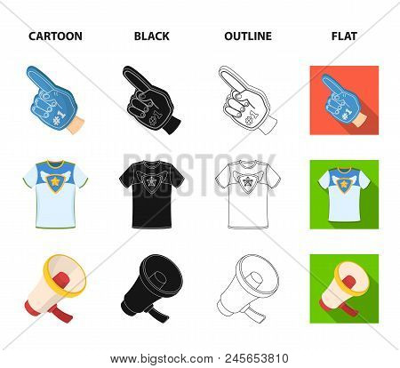 Pipe, Uniform And Other Attributes Of The Fans.fans Set Collection Icons In Cartoon, Black, Outline,