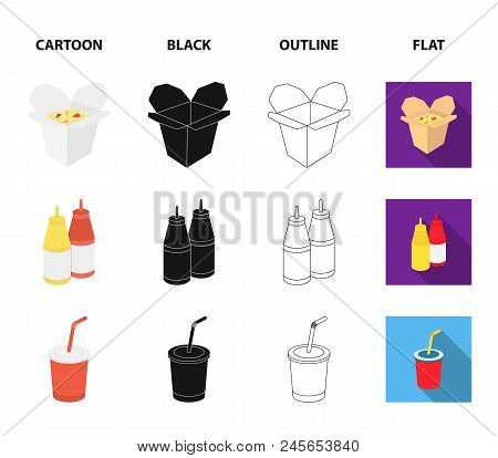 Chocolate, Noodles, Nuggets, Sauce.fast Food Set Collection Icons In Cartoon, Black, Outline, Flat S