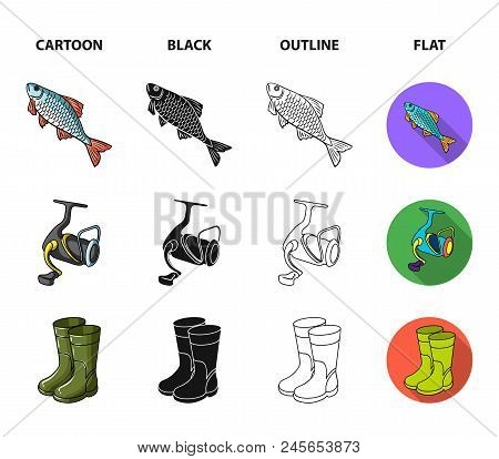 Fishing, Fish, Catch, Hook .fishing Set Collection Icons In Cartoon, Black, Outline, Flat Style Vect
