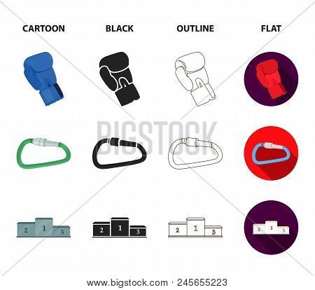 Exercise Bike, Treadmill, Glove Boxer, Lock. Sport Set Collection Icons In Cartoon, Black, Outline,