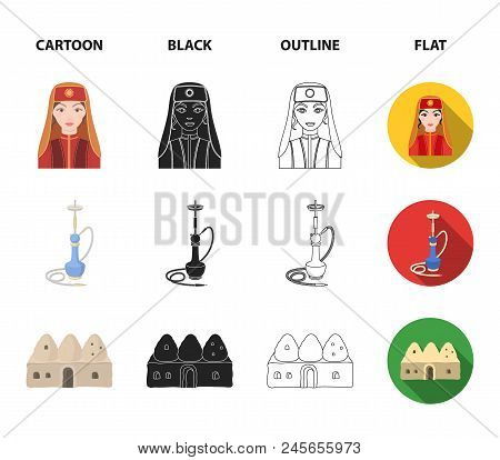 Turkish Fez, Yatogan, Turkish, Hookah.turkey Set Collection Icons In Cartoon, Black, Outline, Flat S