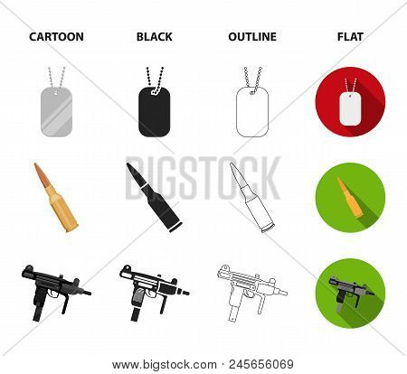 Gas Mask, Nunchak, Ammunition, Soldier's Token. Weapons Set Collection Icons In Cartoon,black,outlin
