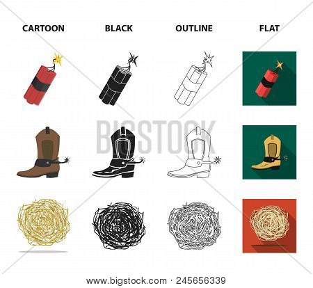 Star Sheriff, Colt, Dynamite, Cowboy Boot. Wild West Set Collection Icons In Cartoon, Black, Outline