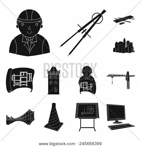 Architecture And Construction Black Icons In Set Collection For Design. Architect And Equipment Vect