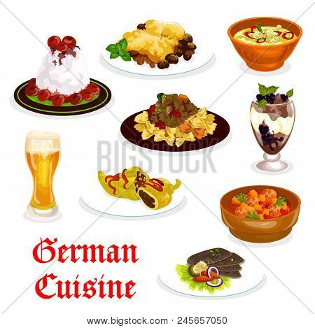 German Cuisine Traditional Food Icon. Pork Meat And Spinach Casserole, Duck Breast With Vegetable An