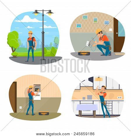 Electrician With Equipment Icon Set For Electrical Service Design. Professional Electrician Changing