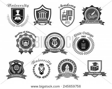 University, College And Academy Vector Icons. Badge Shields For High School Education Graduates In S