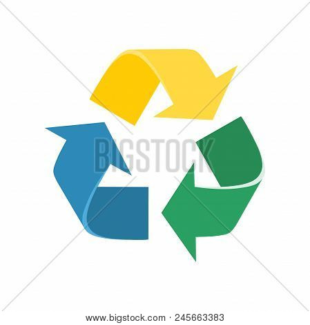 Recycle Sign. Vector Illustration. Colourful Arrows Moving In Triangle.