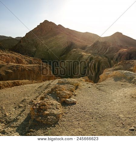 Atlas Mountains Near Chebika In Strong Sun Back Light.
