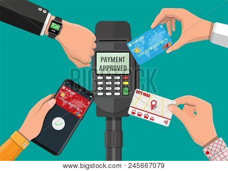 Hands With Transport Card, Smartphone, Smartwatch And Bank Card Near Pos Terminal. Wireless, Contact