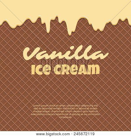 Seamless Pattern Waffle Texture Melts Frosting Ice Cream Dripping. Glossy Streaks Chocolate Vanilla