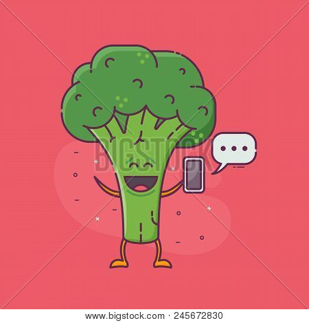 Smiling Green Broccoli Messaging. Sending And Receiving Messages Or Email Concept With Cute Vegetabl