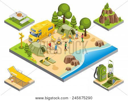 Isometric Outdoor Recreation Concept With Tourists Travel Bus Camping Items Accessories And Nature L