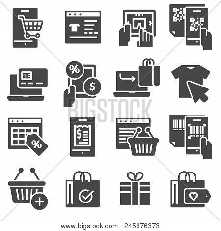Shopping And E-commerce Vector Icons Set On White Background