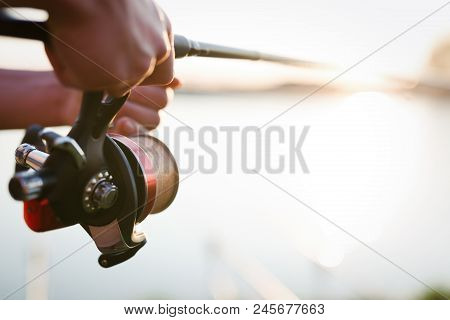 Fishing Gear - Fishing Spinning, Fishing Line And Sports Equipment Concept