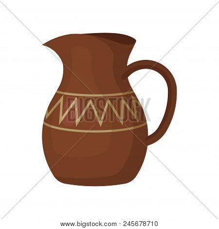 Icon of brown ceramic jug with one handle and geometric ornament. Ceramic crockery. Large container for liquids. Graphic element for promo poster of antiques store. Isolated flat vector illustration. poster