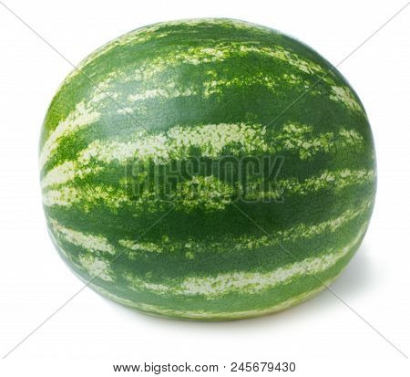 Close-up View Of Ripe Watermelon Isolated On White Background