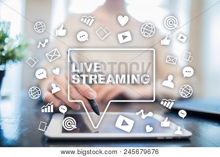 Live Streaming On Virtual Screen. Webcast. Smm. Medical Marketing
