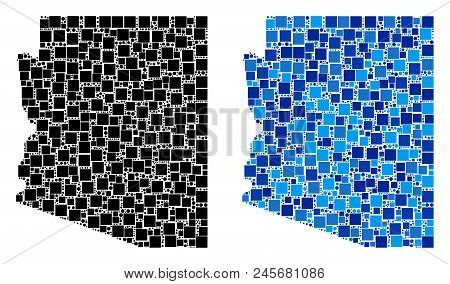 Dotted Arizona State Map Variants. Abstract Geographic Map Variant Designed With Blue Color Tints. V