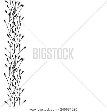 Vector Floral Border. Black Floral Frame.  Floral Decoration.