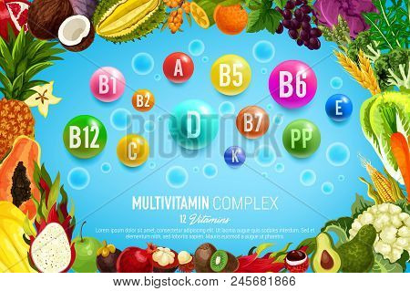 Vitamin And Mineral Banner With Healthy Food, Vegetable And Fruit Frame. Natural Diet Supplement Com