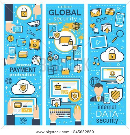 Internet Security Banner Set For Data And Online Payment Protection Concept. Network Safety Informat