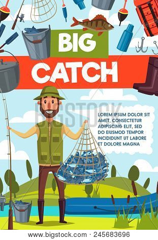 Big Catch Fish Banner For Fishing Sport, Outdoor Activity Design. Fisherman With Rod, Fish Net And B