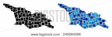 Dot Georgia Map Versions. Abstract Geographic Map Version Designed With Cold Blue Color Hues. Vector