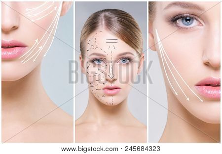 Human face in a collage. Young and healthy woman in plastic surgery, medicine, spa and face lifting concept.