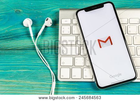 Sankt-petersburg, Russia, June 2, 2018: Google Gmail Application Icon On Apple Iphone X Smartphone S