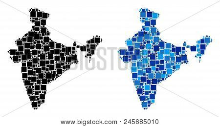 Dot India Map Variants. Abstract Geographic Map Variant Done With Blue Color Hues. Vector Compositio