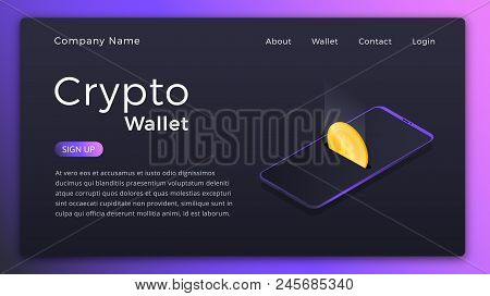 Cryptocurrency Wallet. Isometric Illustration Of Cryptocurrency Mobile Storage App Concept. Online W