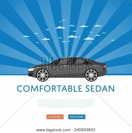 Website Design With Business Sedan. Comfortable Family Car On Blue Striped Background, Modern Auto V