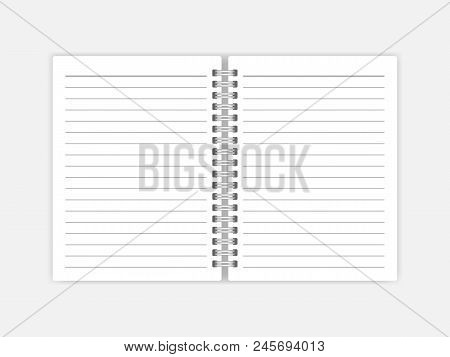 Open Notebook With White Lined Pages Vector Mock-up. Spiral Bound Notepad Mockup. Wirebound Diary