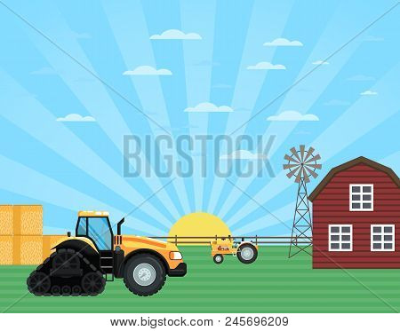 Agricultural Works At Farmland. Rural Agribusinessconcept With Tractor, Windmill And Barn, Farmer Wo