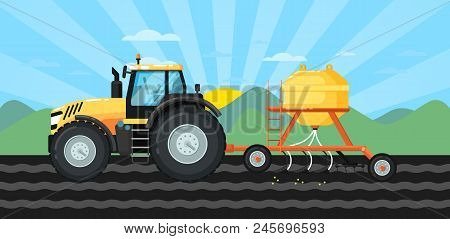Tractor Seeding Crops At Field In Spring Landscape. Rural Agribusinessillustration With Farmer Worki