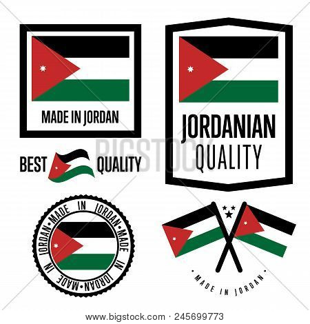 Jordan Quality Isolated Label Set For Goods. Exporting Stamp With Jordanian Flag, Nation Manufacture