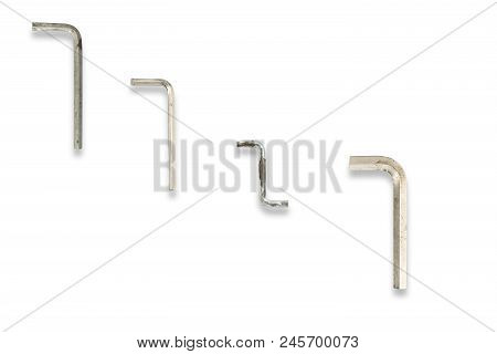 Set Of Four Different Allen Wrenches, Isolated On White