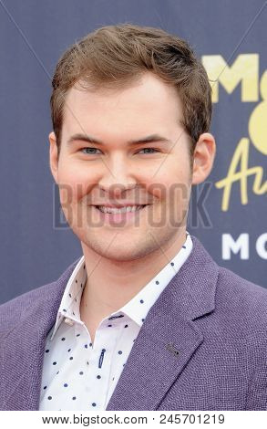 Justin Prentice at the 2018 MTV Movie And TV Awards held at the Barker Hangar in Santa Monica, USA on June 16, 2018.