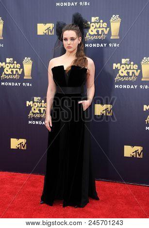 Katherine Langford at the 2018 MTV Movie And TV Awards held at the Barker Hangar in Santa Monica, USA on June 16, 2018.