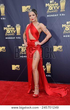Halsey at the 2018 MTV Movie And TV Awards held at the Barker Hangar in Santa Monica, USA on June 16, 2018.