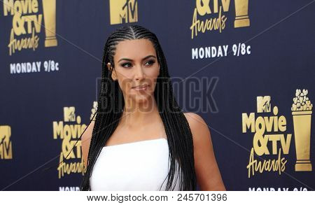 Kim Kardashian at the 2018 MTV Movie And TV Awards held at the Barker Hangar in Santa Monica, USA on June 16, 2018.
