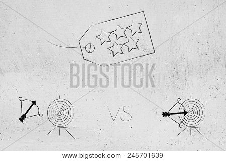 Successful Or Unsuccessful Marketing For Yout Target Market Conceptual Illustration: 5 Star Price Ta