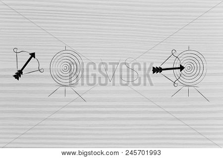 Successful Or Unsuccessful Marketing For Yout Target Market Conceptual Illustration: Arrow Missing T