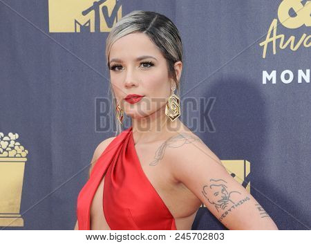 Halsey at the 2018 MTV Movie And TV Awards held at the Barker Hangar in Santa Monica, USA on June 16, 2018.