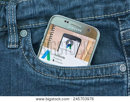Montreal, Canada - October 2, 2017: Google Adwords Android App On S7. Google Adwords Is An Advertisi
