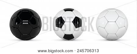 Set Of Realistic Soccer Balls Or Football Ball On White Background. 3d Style Vector Ball. Soccer Bla