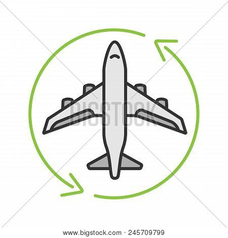 Flight Transit Color Icon. Circle Arrow With Airplane Inside. Plane Transfer. Flights Management. Is