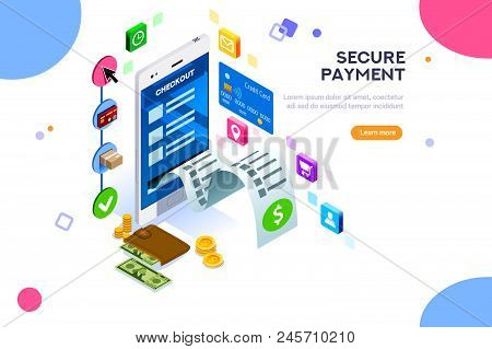 Online Payment. Internet Payments, Protection Of Money In Cellphone Transactions. Can Use For Web Ba