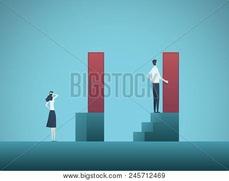 Business Gender Gap Inequality Vector Concept. Symbol Of Discrimination In Career, Salary Gap, Corpo